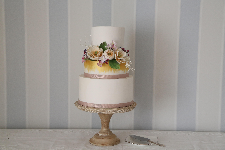Ivory & Gold wedding with sugar flower wreath