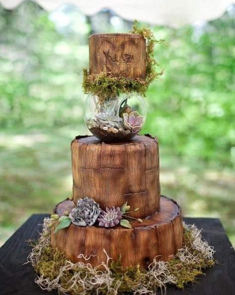 Brown Bark Wedding Cake