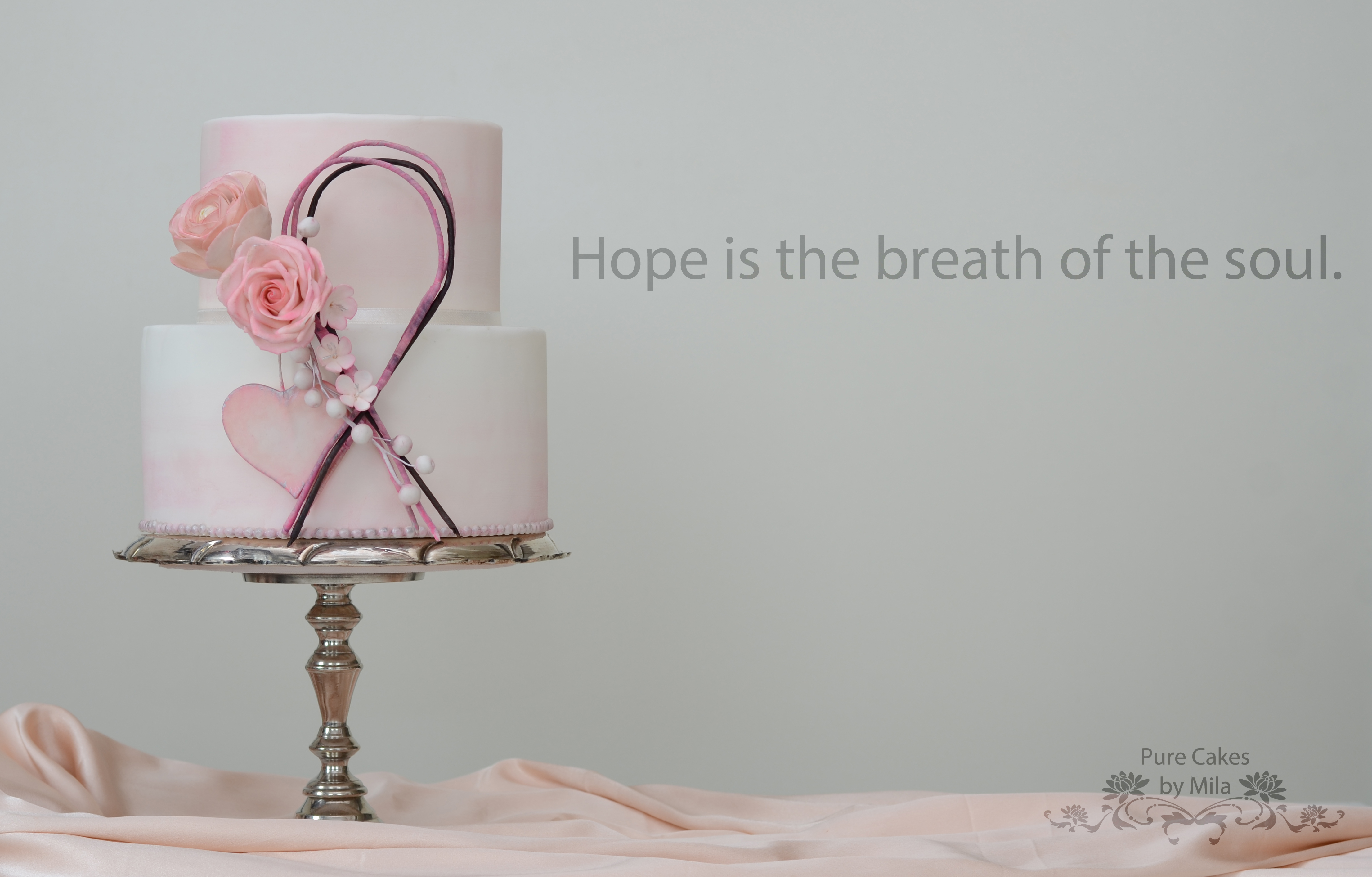 pink and white heart wedding cake