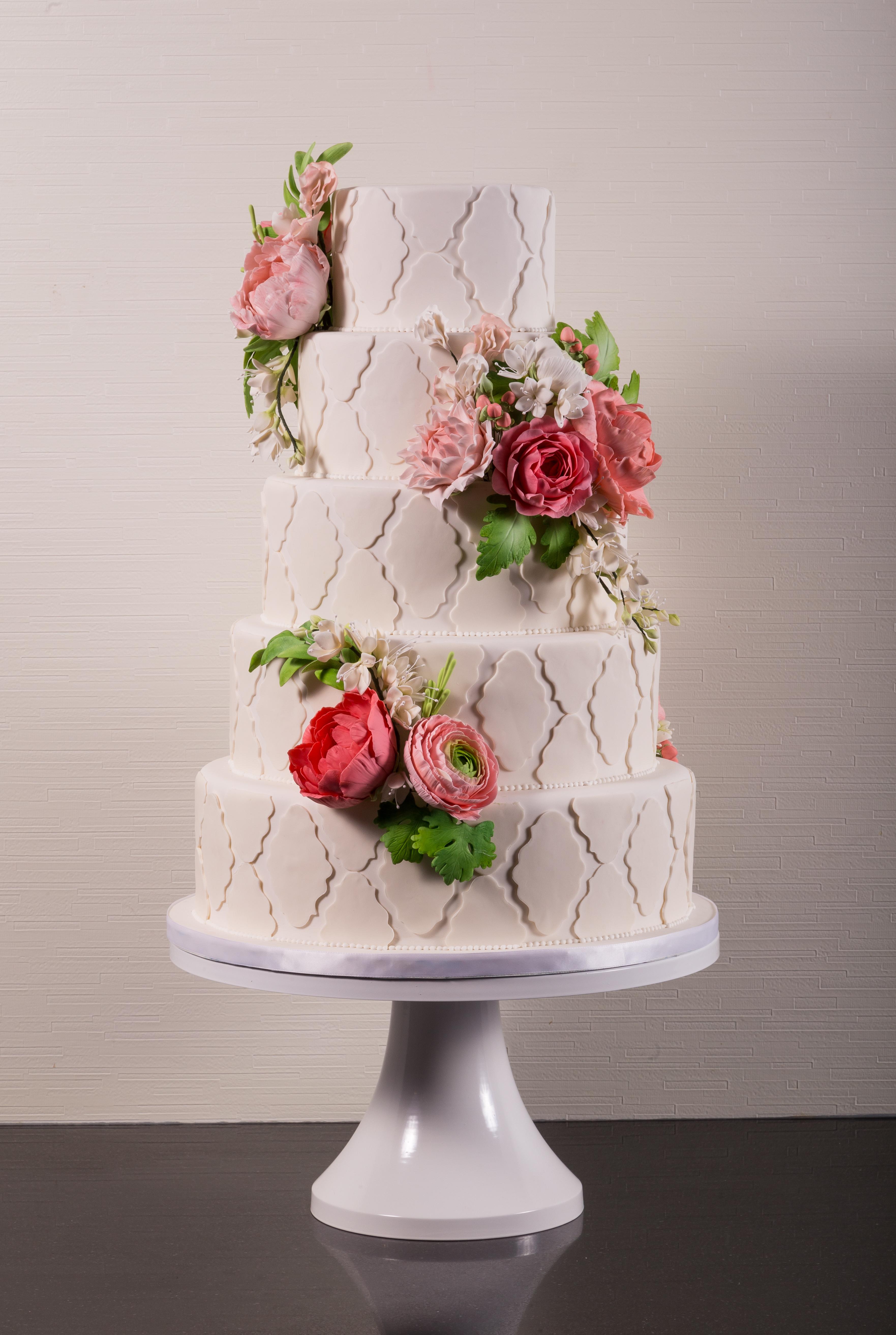 Jennifer smith satin ice baby pink wedding cake with pink sugar roses mightylinksfo