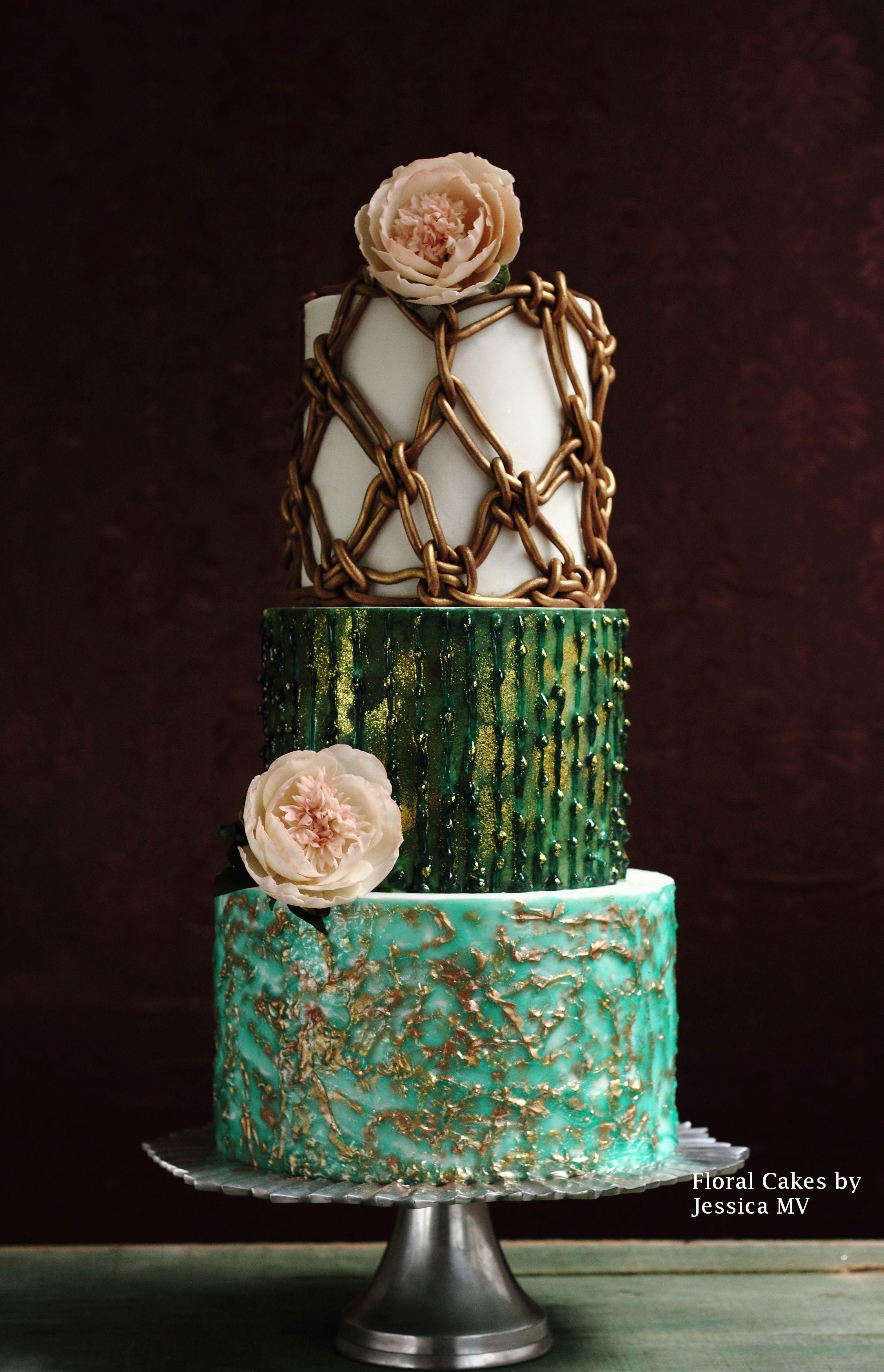 Macrame and sugar thread wedding cake with sugar anemones