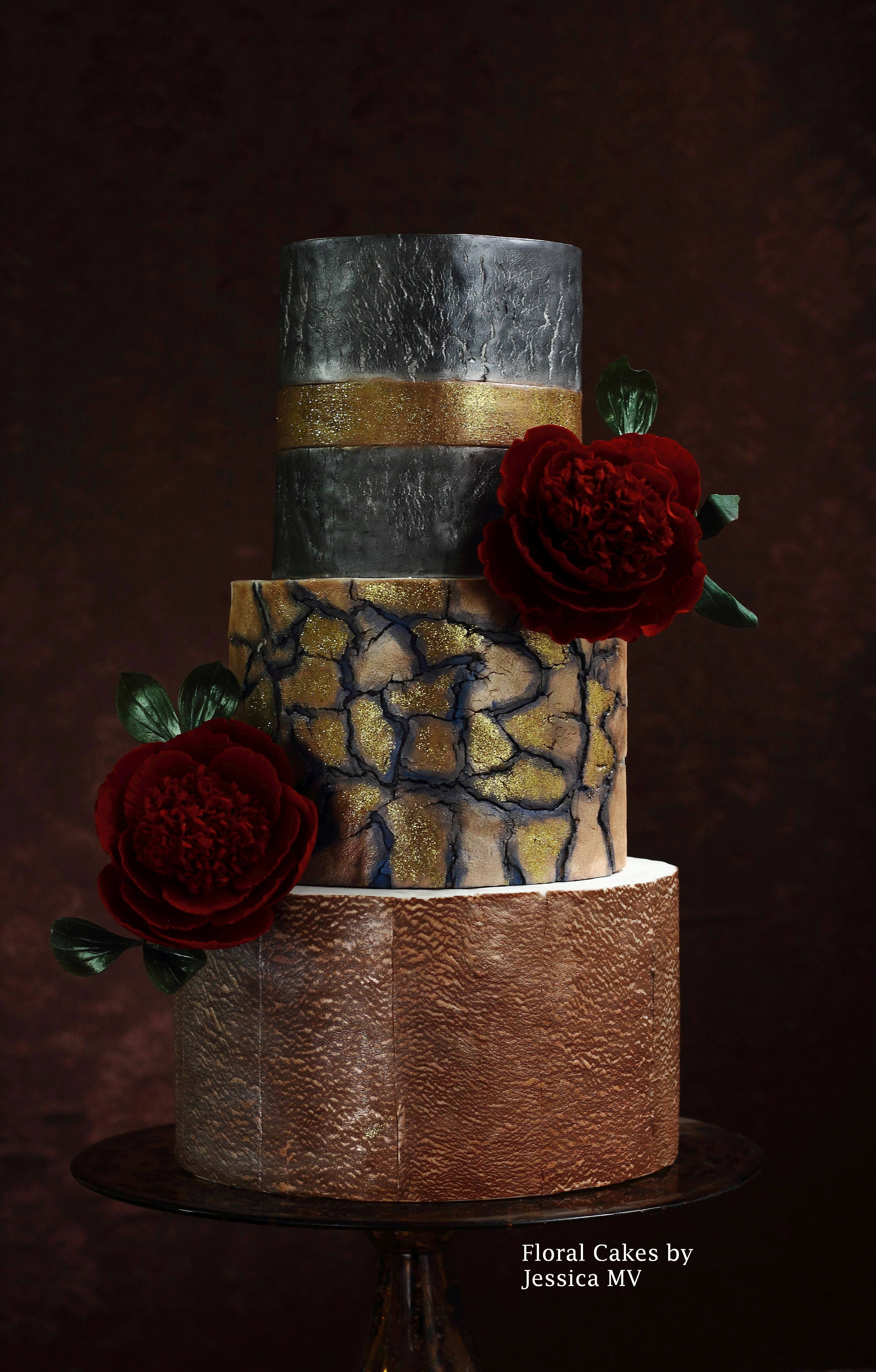 Copper and gold crack wedding cake