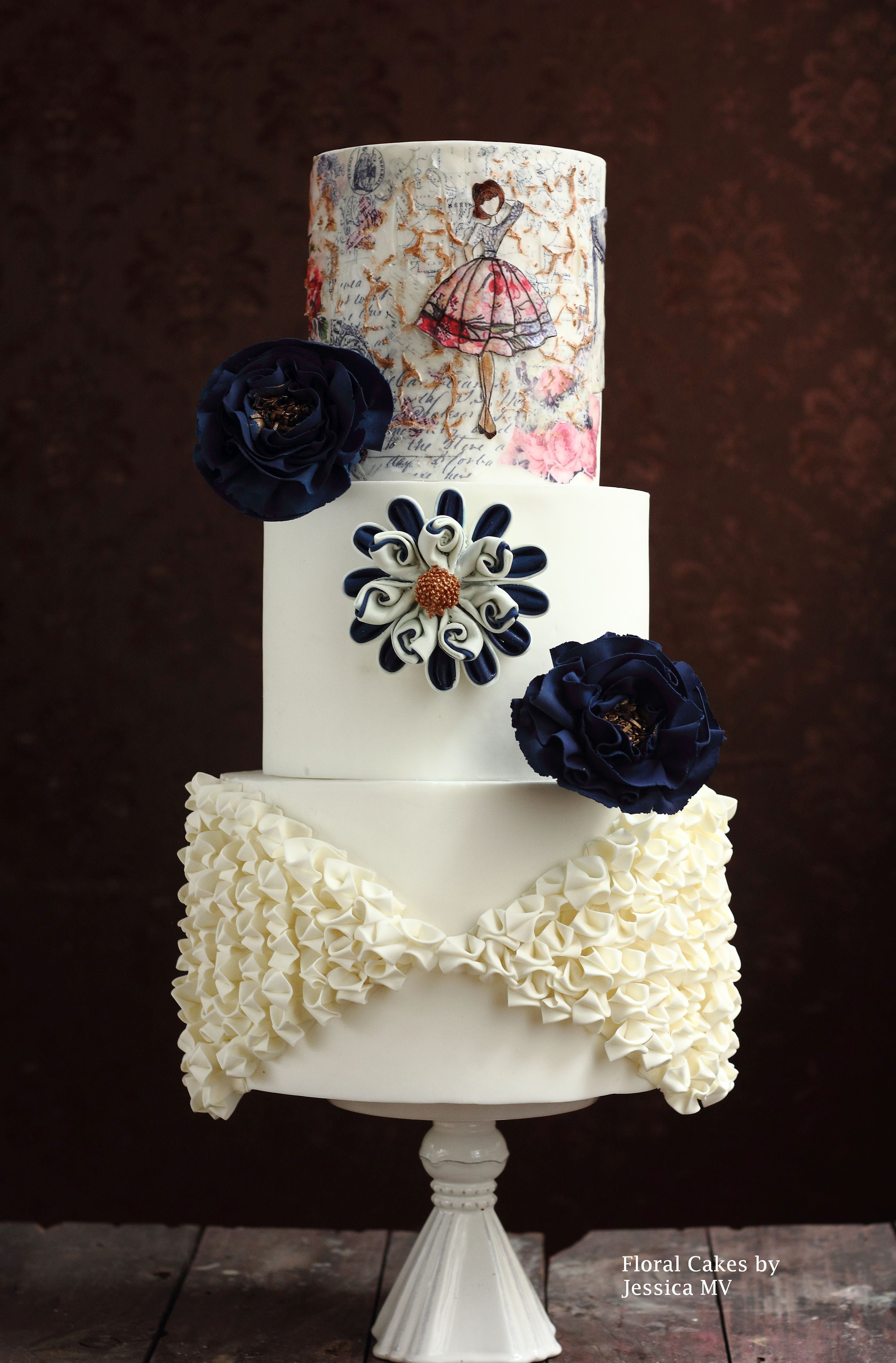 White with criss cross ruffles and a hand painted design