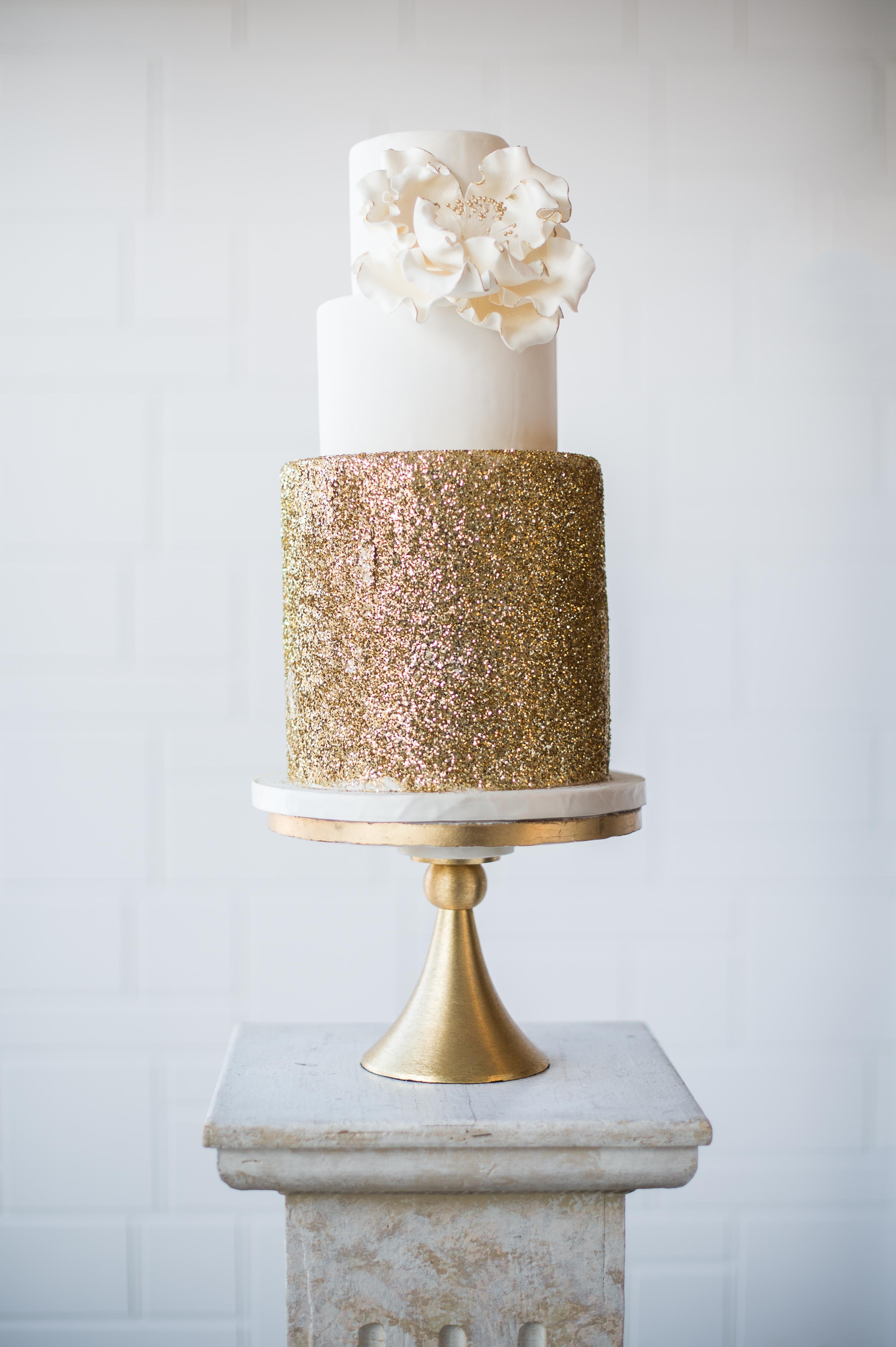 White wedding with copper sparkle bottom tier