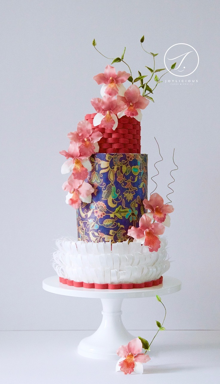 Asian batik themed wedding cake