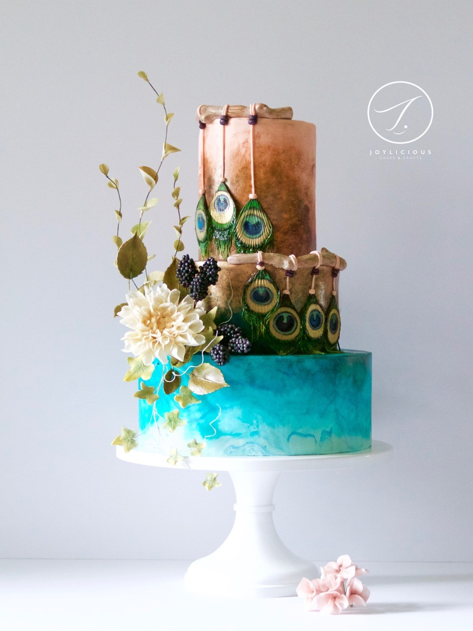 Watercolor peacock dreamcatcher cake