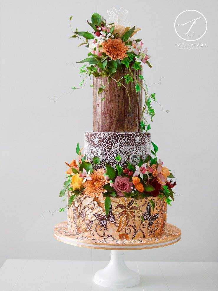 Autumn butterfly enchanted forest wedding cake