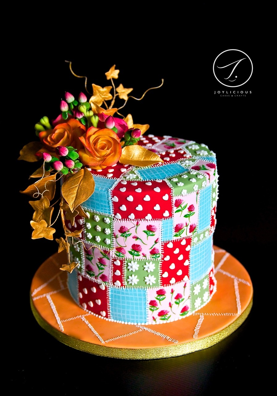 Patchwork mini birthday cake