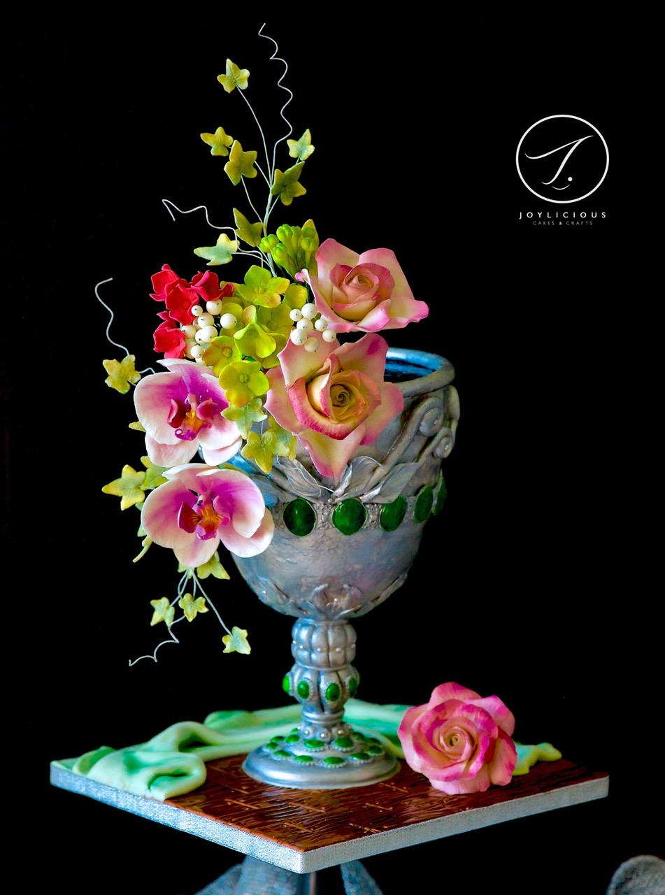 Goblet of sugar flowers