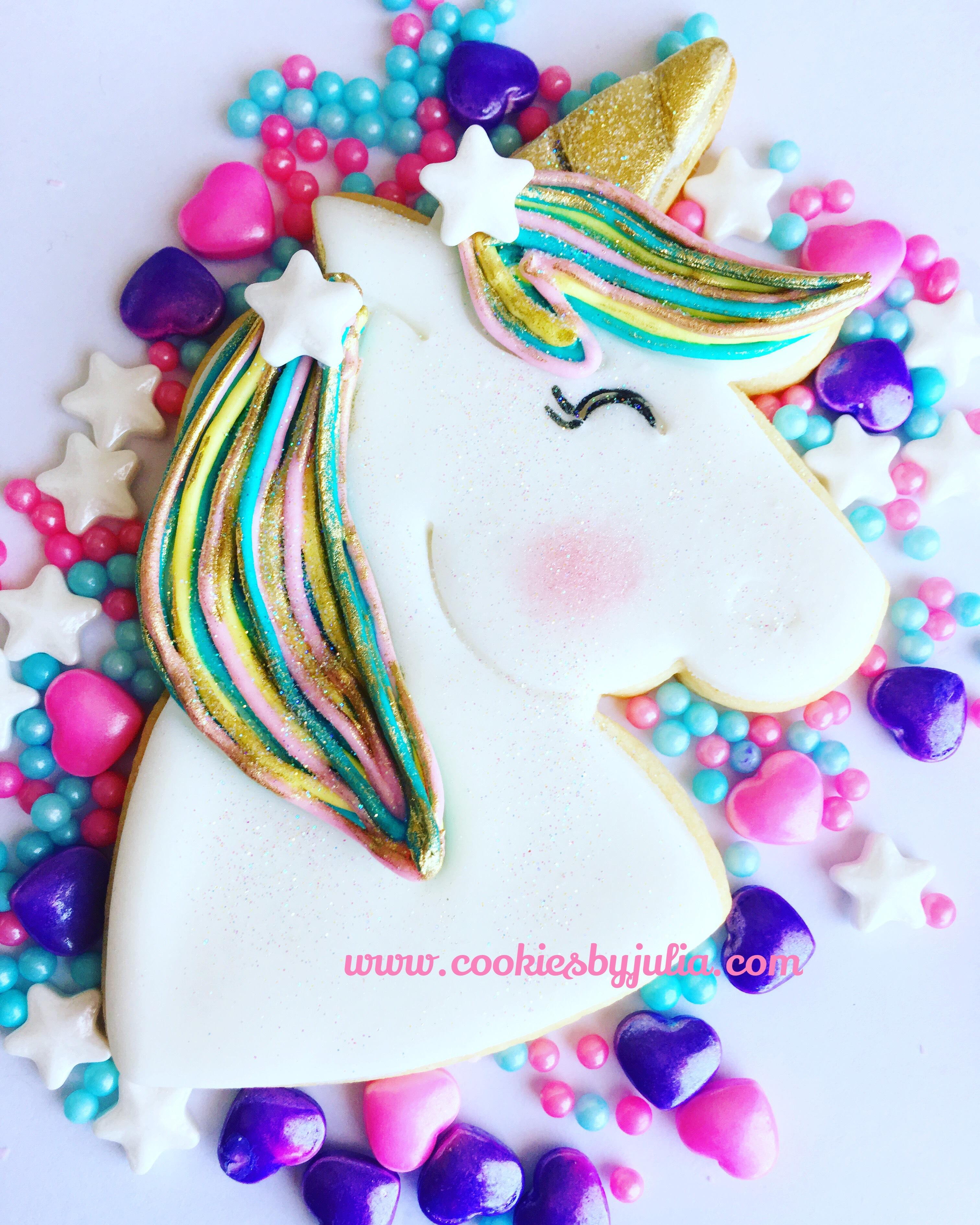 Unicorn fondant cookies