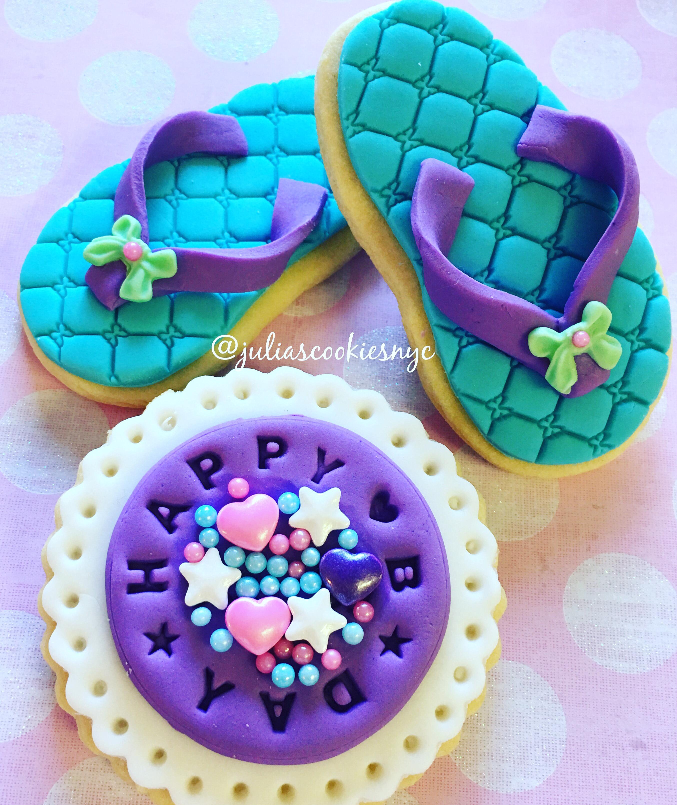 Fondant flip flop cookies