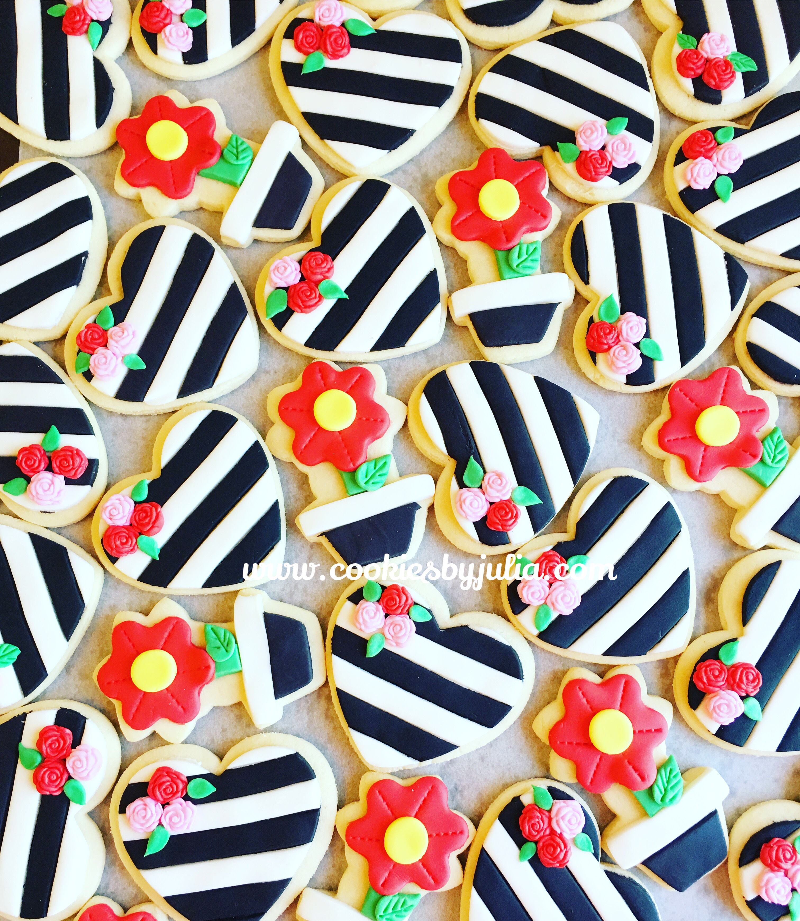 Striped heart and flower fondant cookies