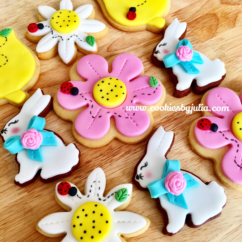 Fondant bunny and flower fondant cookies