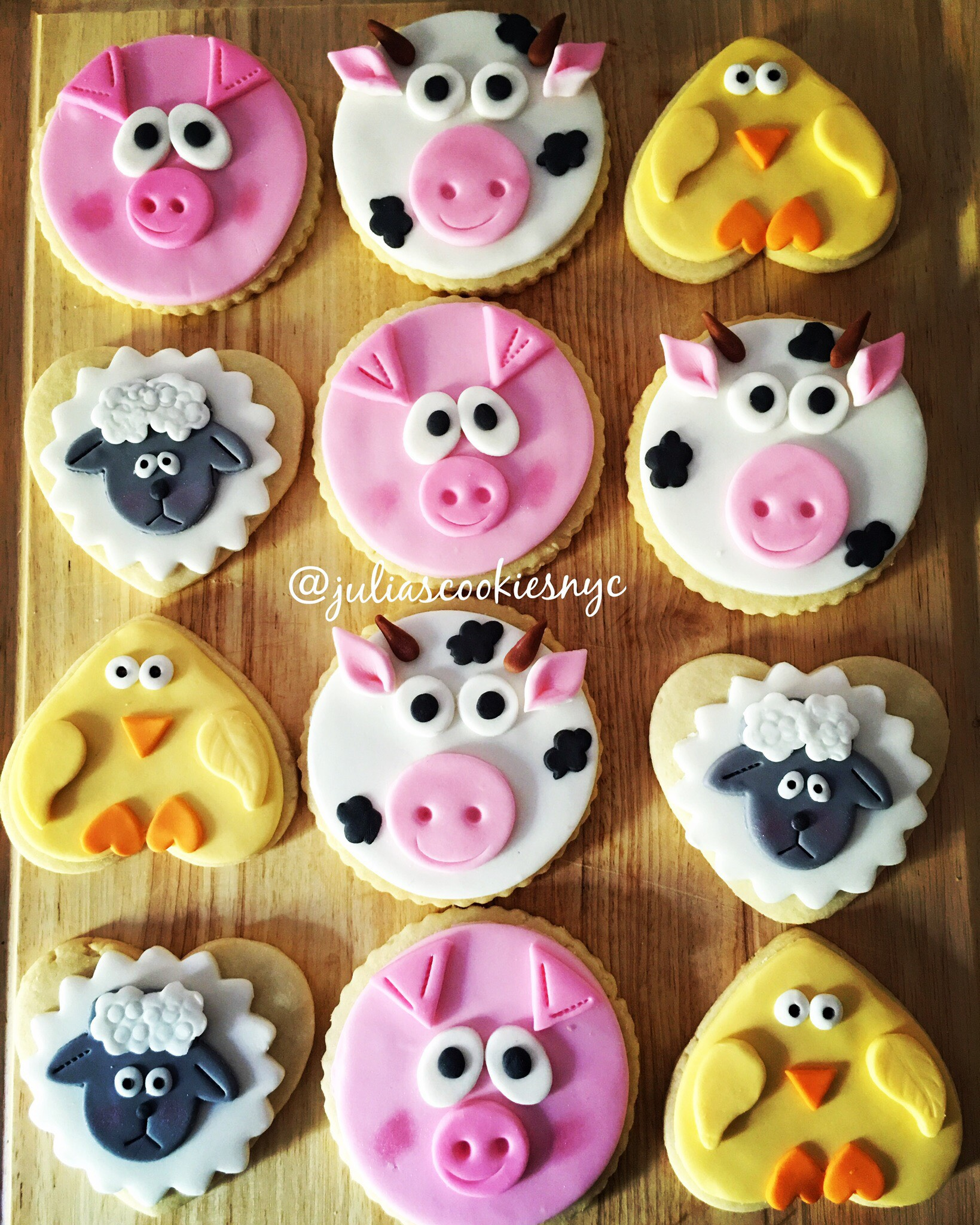 Farm animal fondant cookies