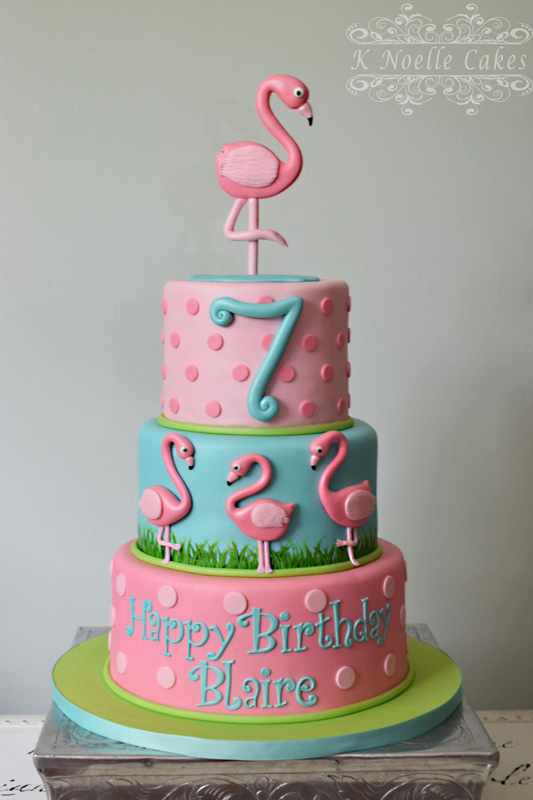 Pink & Blue Flamingo Girls Birthday