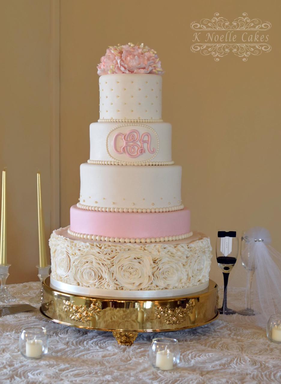 White & Pink rosette Wedding