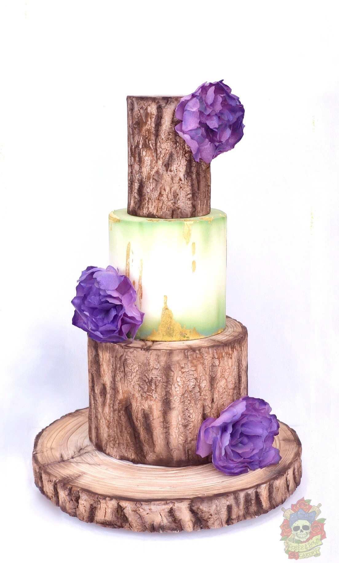 Purple accented wedding with bark