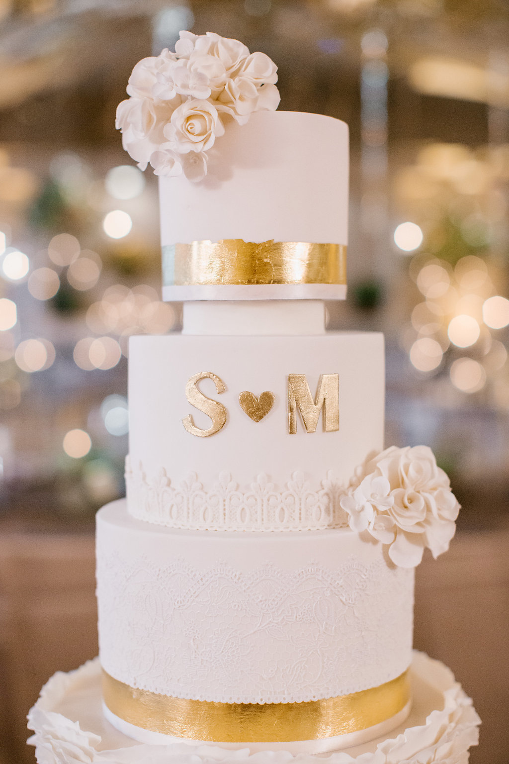 Baby Pink with Gold Wedding cake