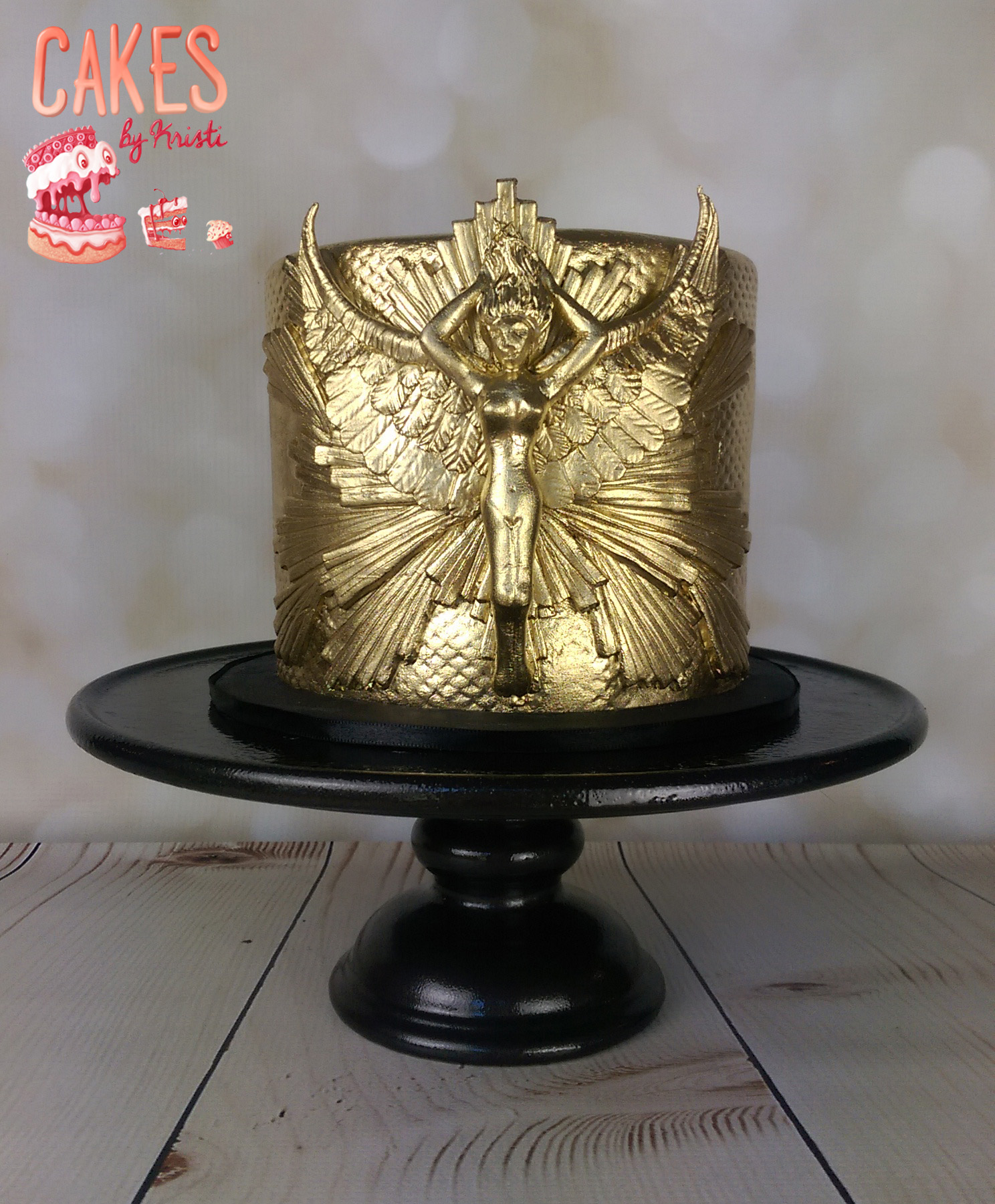 Gold mythical angel mini cake