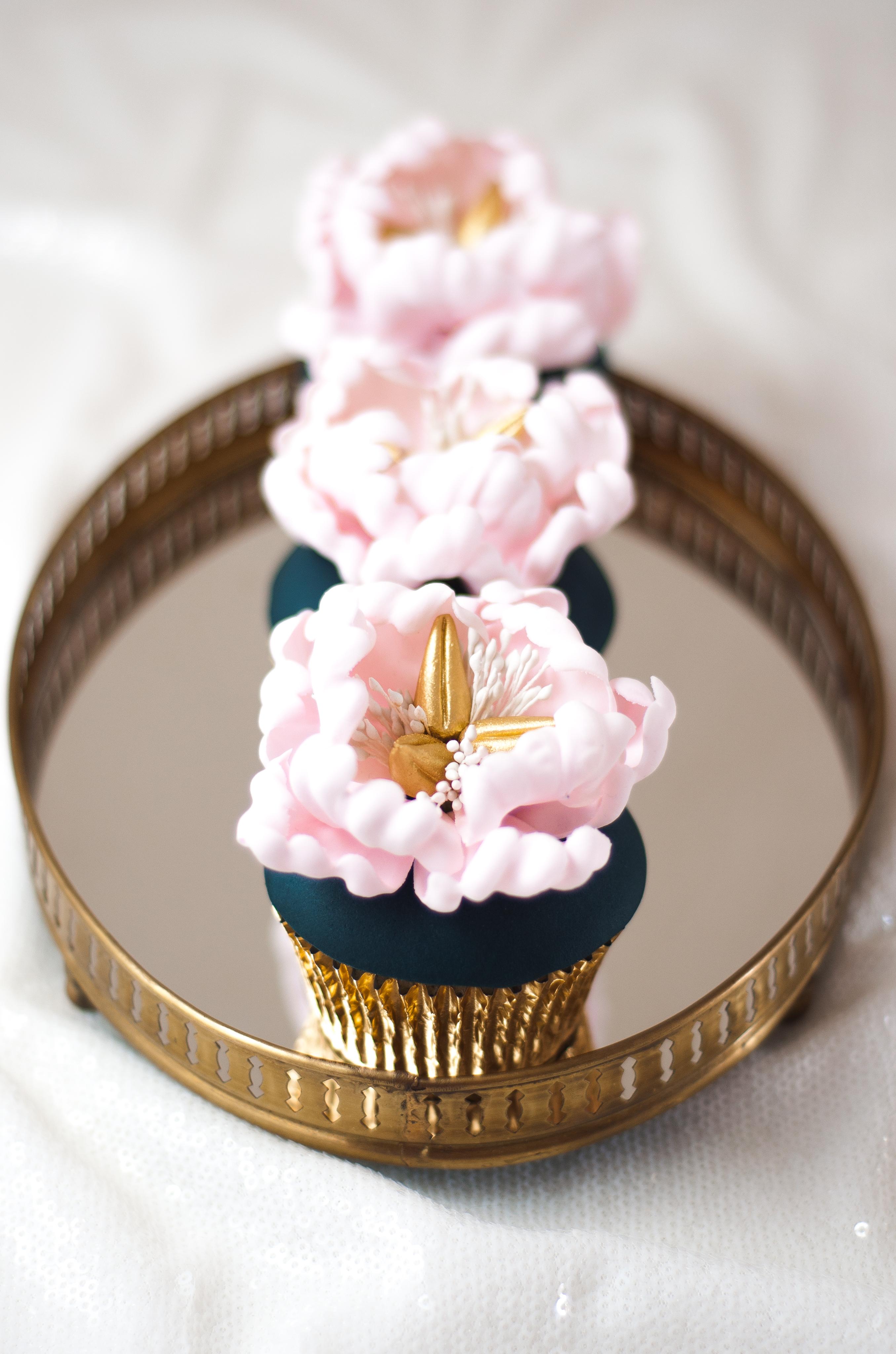 Blush peony navy blue cupcakes