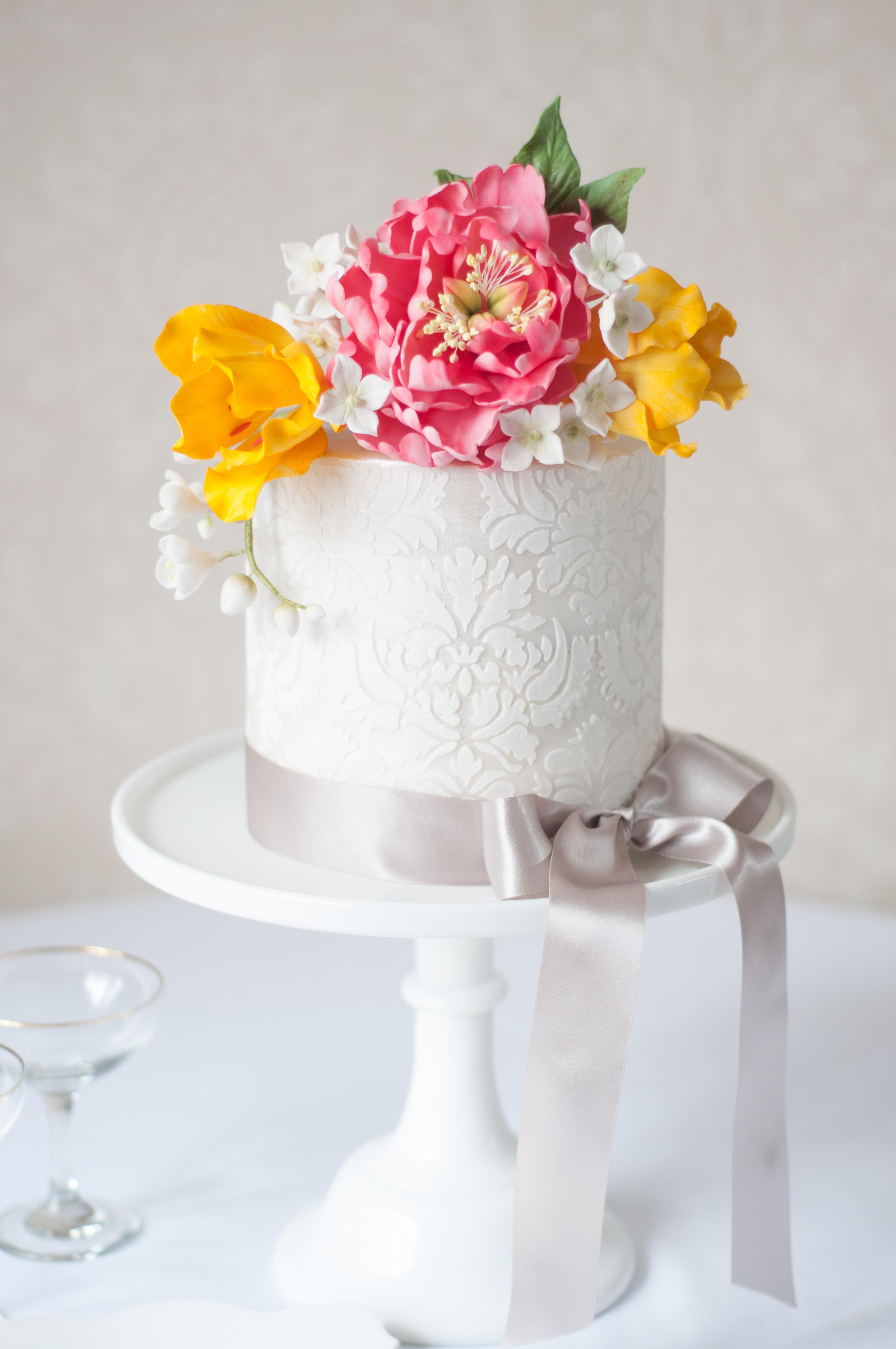 Damask fondant wedding cake with sugar peony and tulips