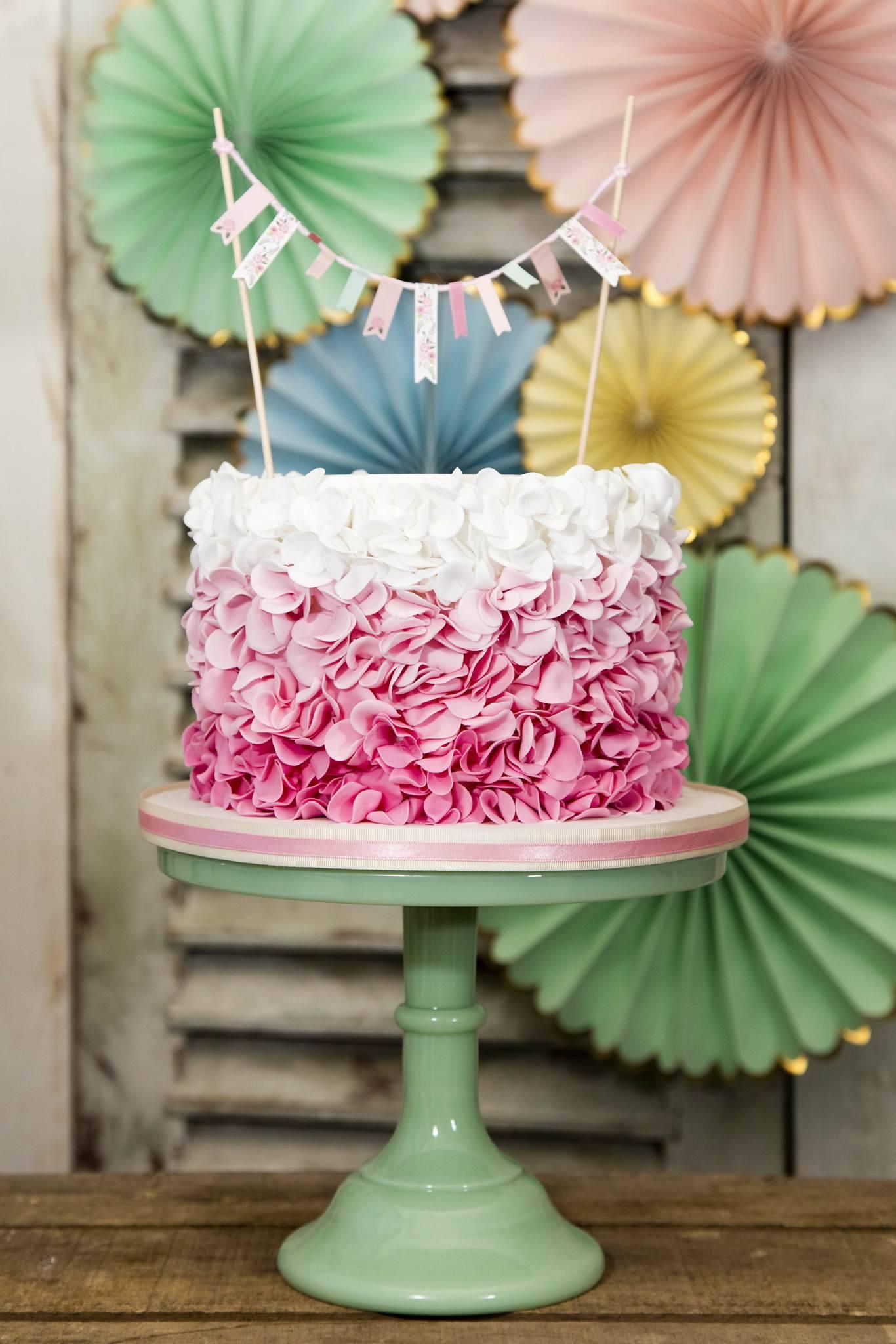Ombre ruffle birthday cake