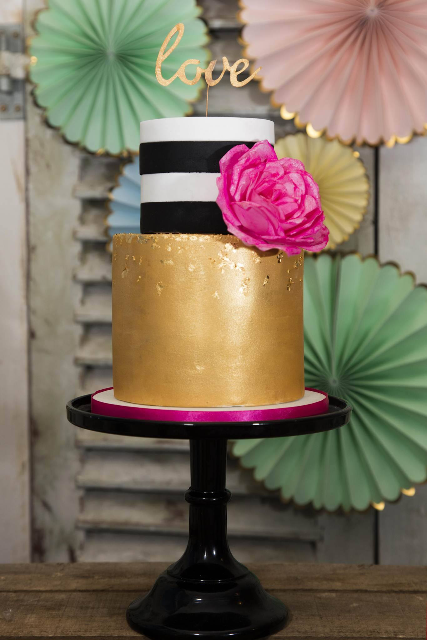 gold and black and white striped wedding