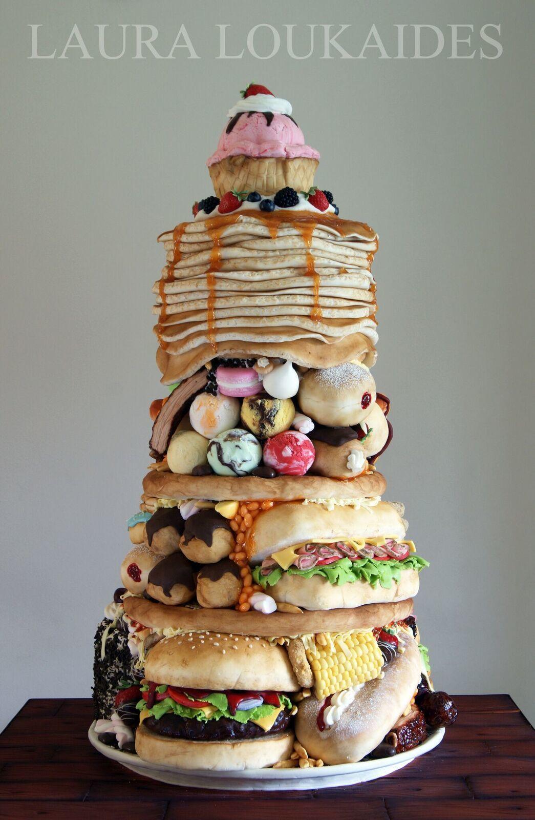 Stack of junk food cake