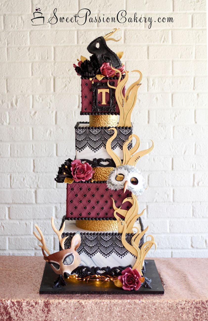 Burgundy and gold masquerade themed birthday cake