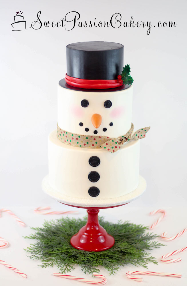Snowman cake with top hat