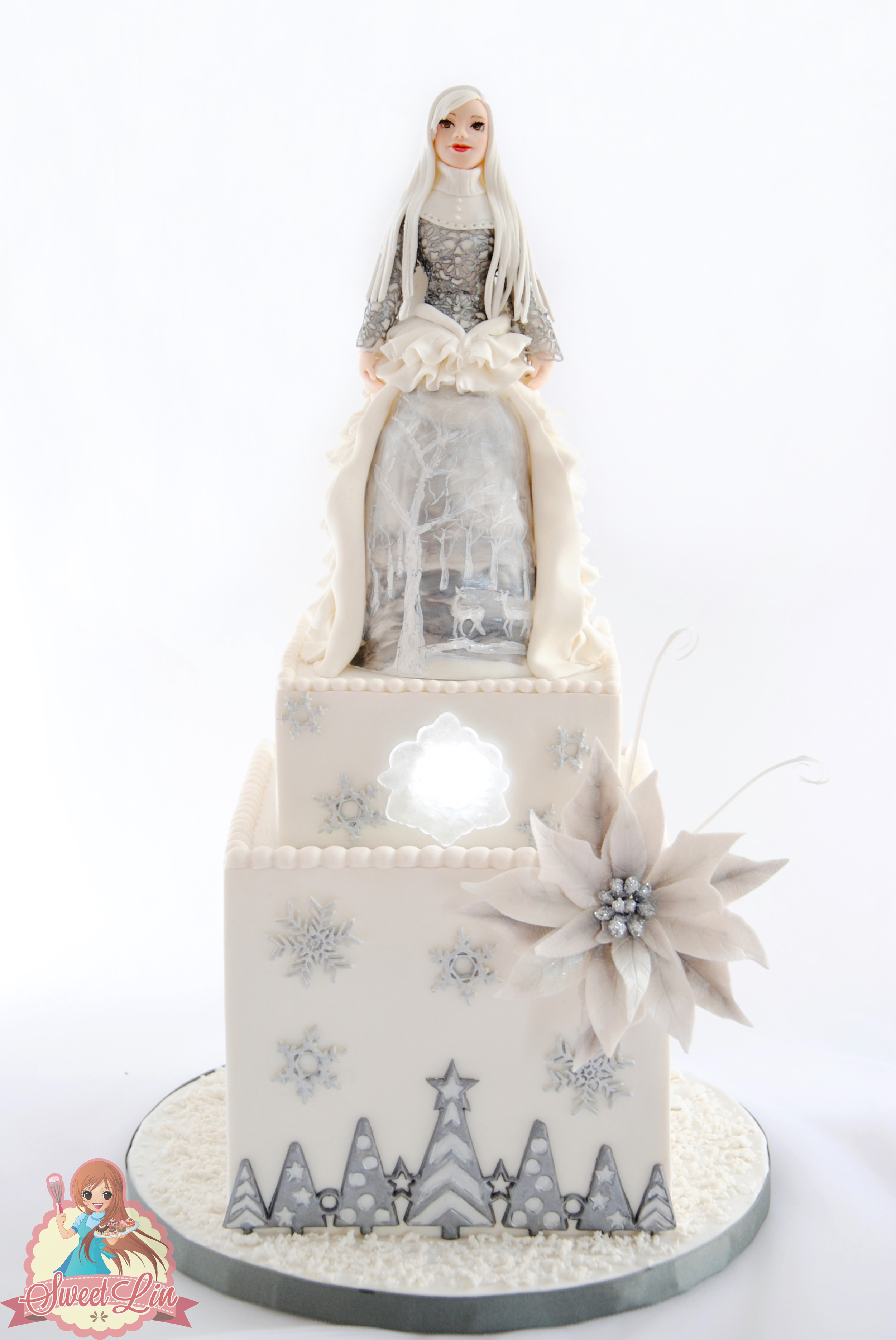 Ice Fairy Silver and White Snowflake Cake