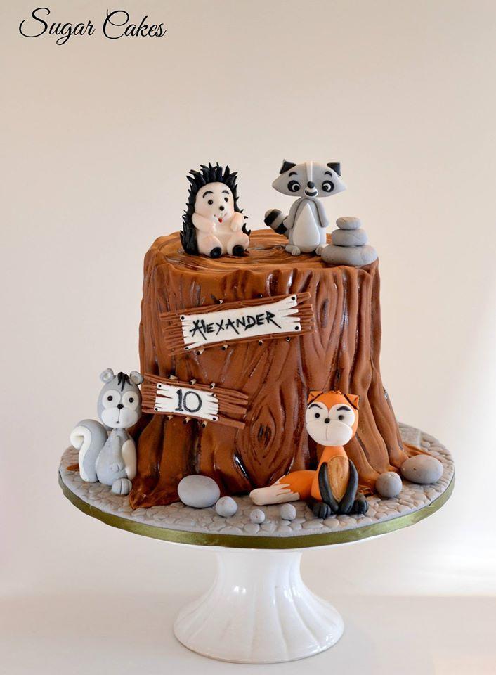 Woodland themed birthday cake