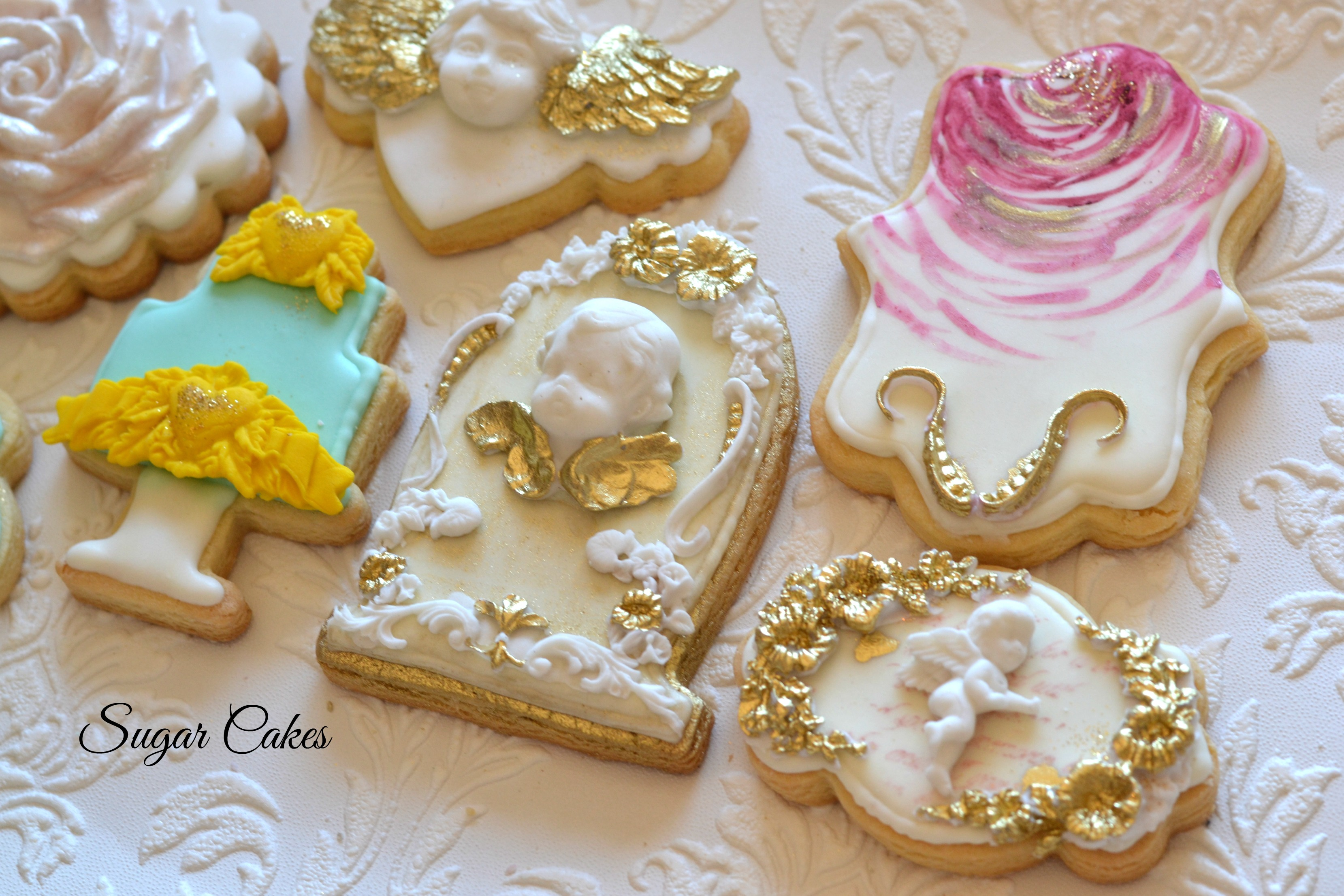 Victorian themed fondant cookies