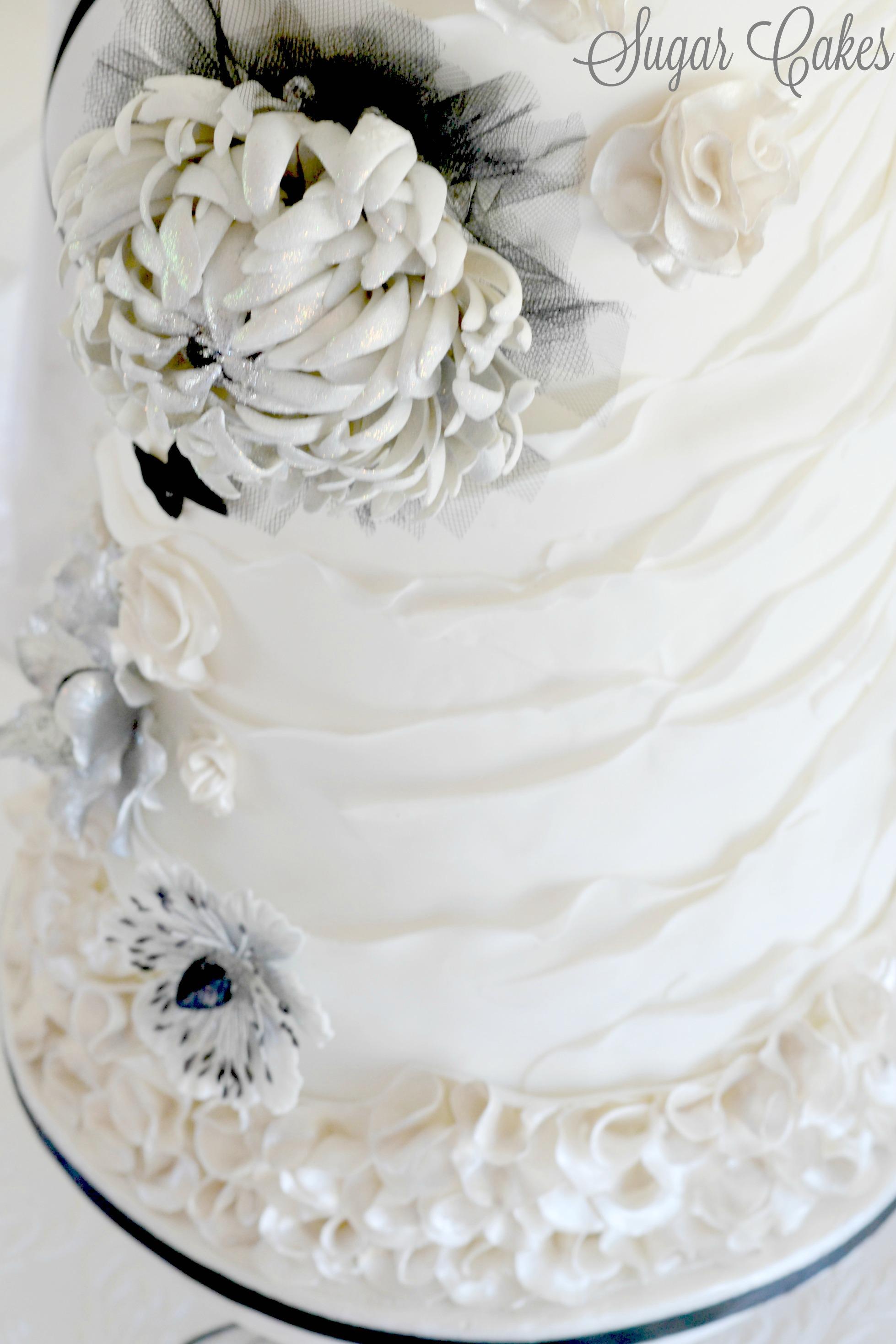 Gray and white ruffle wedding