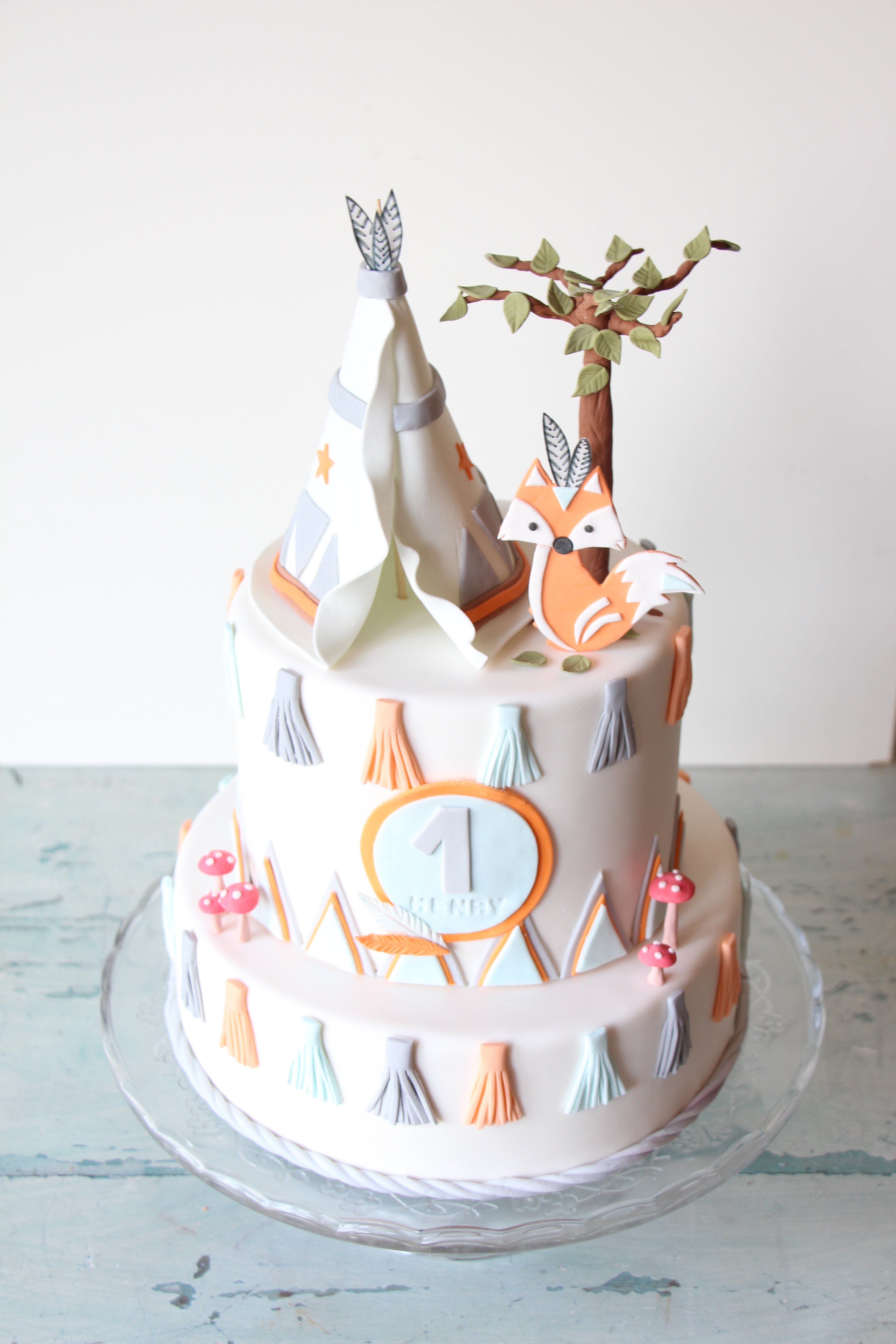 Woodland themed birthday cake