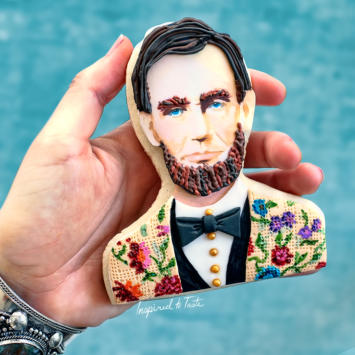 Hand painted fondant abraham lincoln cookie