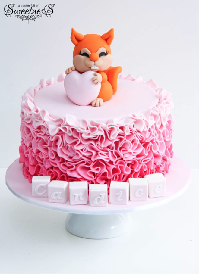 Pink Ombre Fox Girls Cake