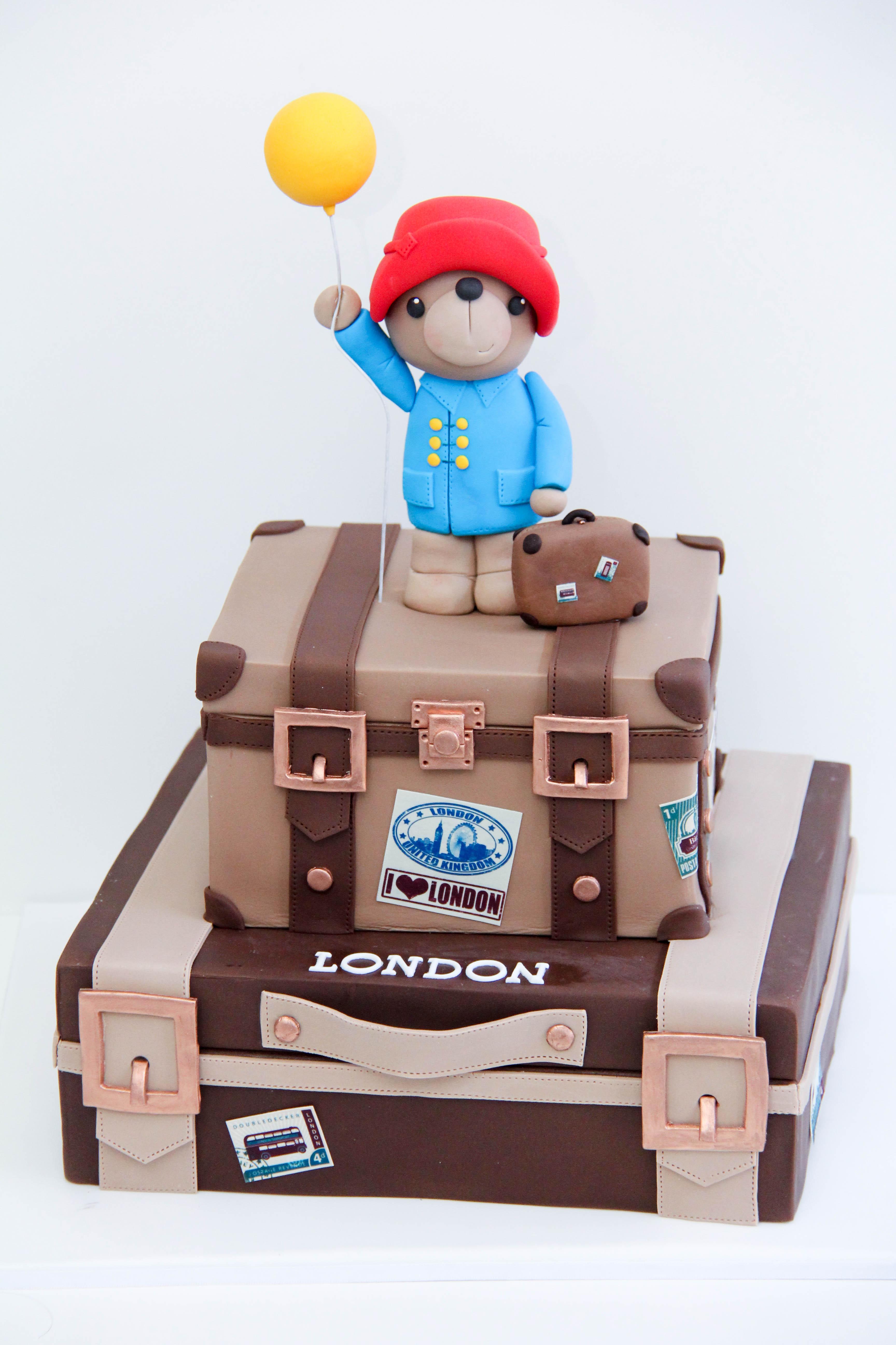 Paddington Bear suitcase cake