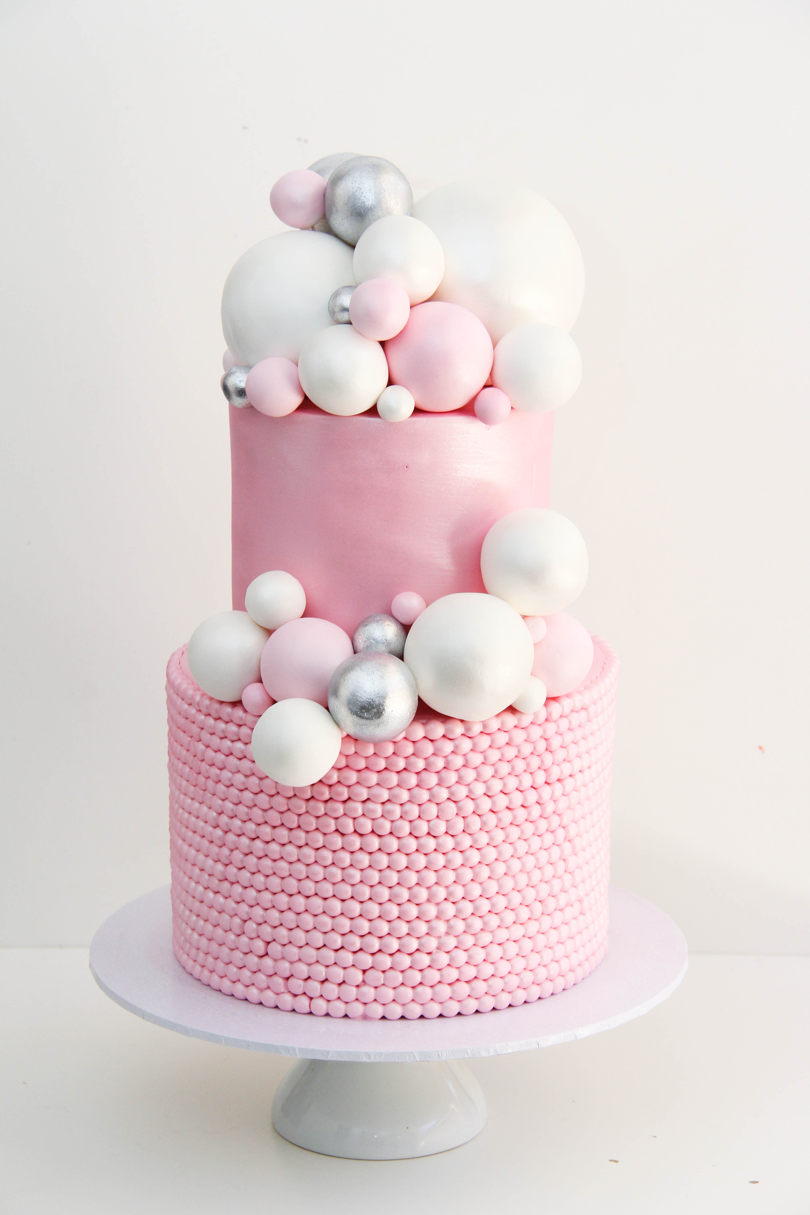 Pink Bubbles baby cake