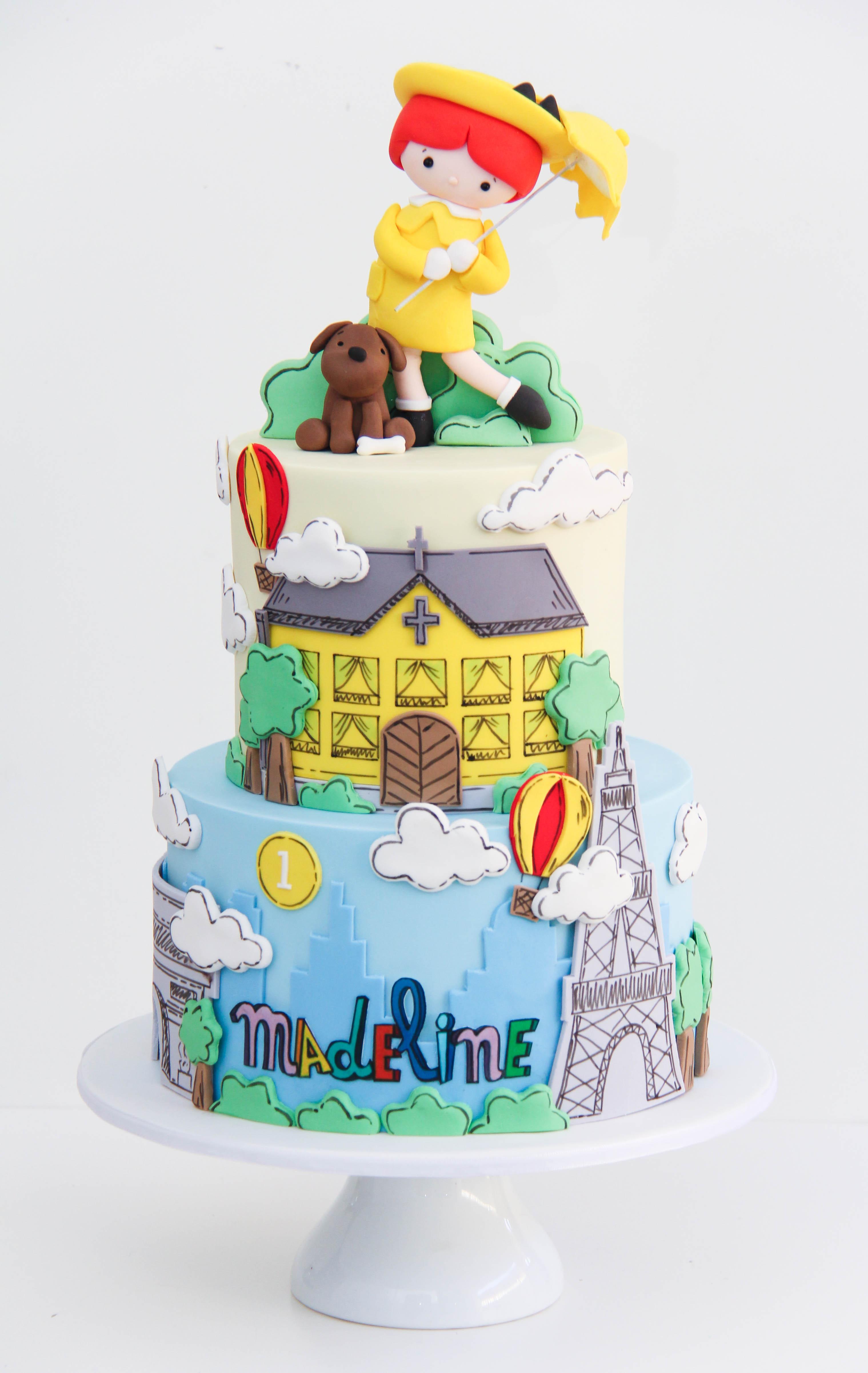 Madeline themed girls birthday cake