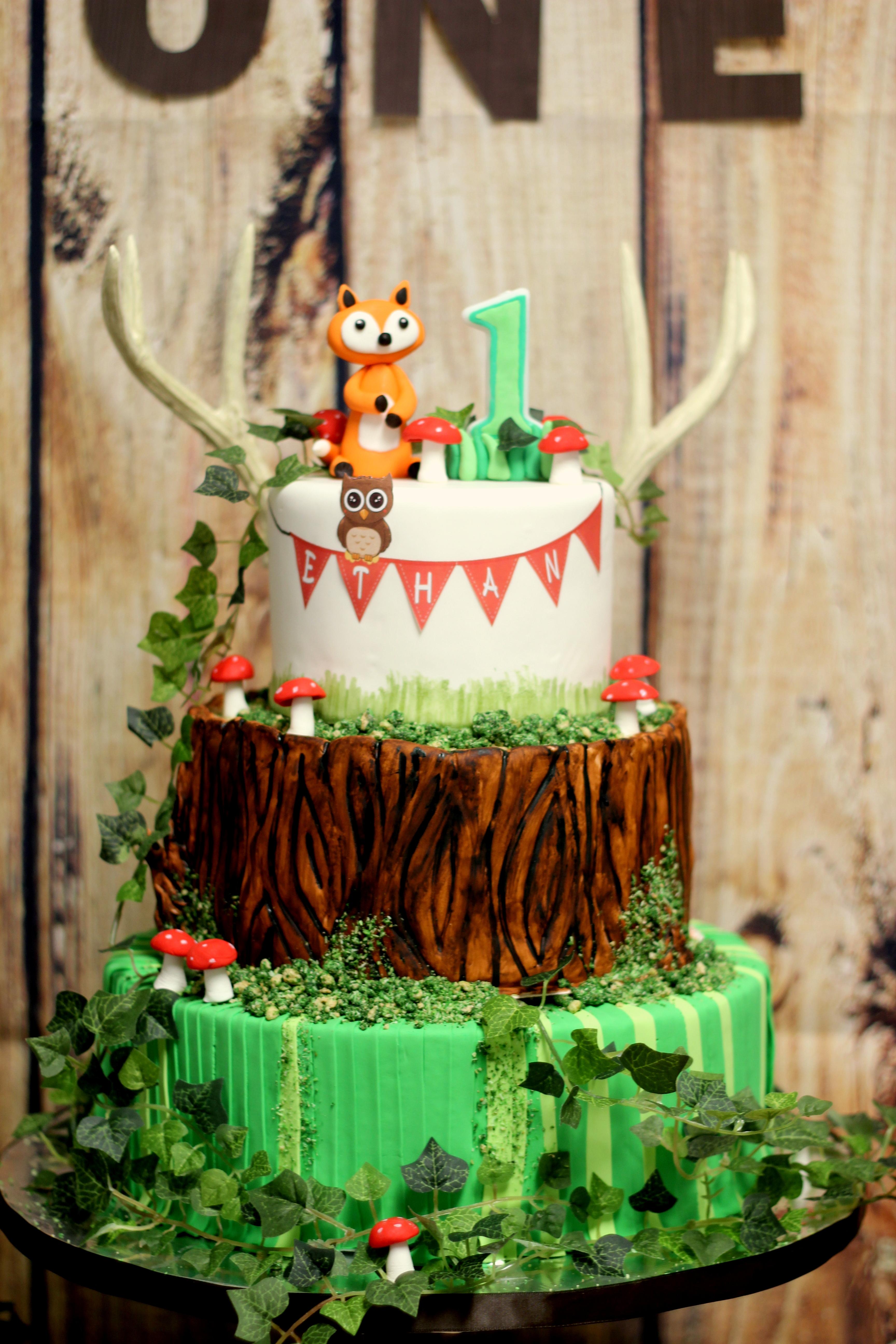 Woodland first birthday cake