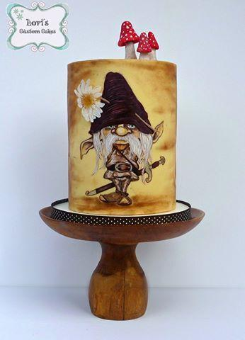Handpainted woodland gnome cake with mushrooms