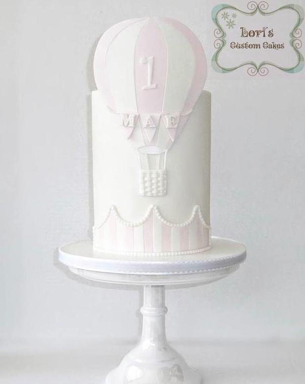 Hot Air Ballon Pink & White Birthday