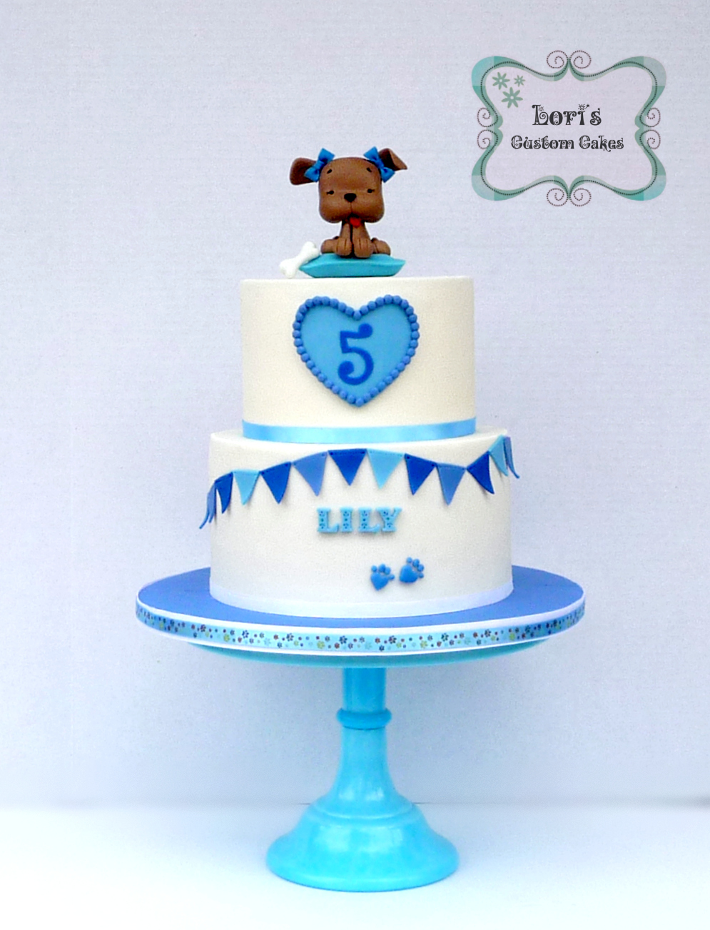 Blue & White Puppy Birthday