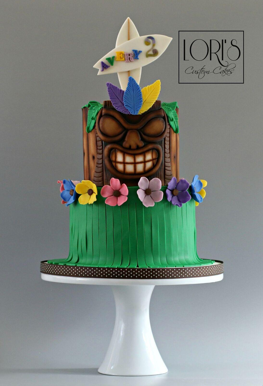tiki themed birthday cake