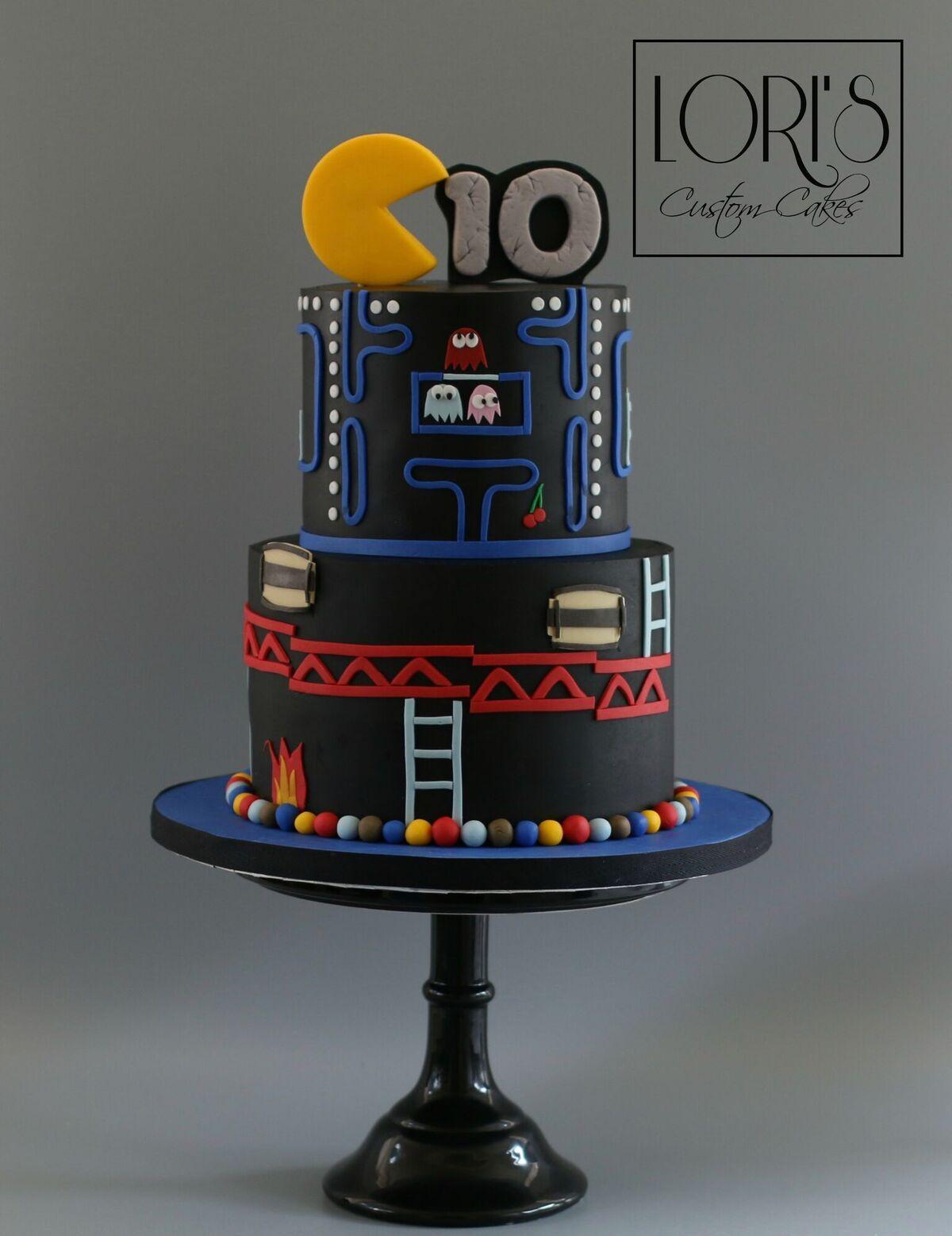 Pac man themed birthday cake