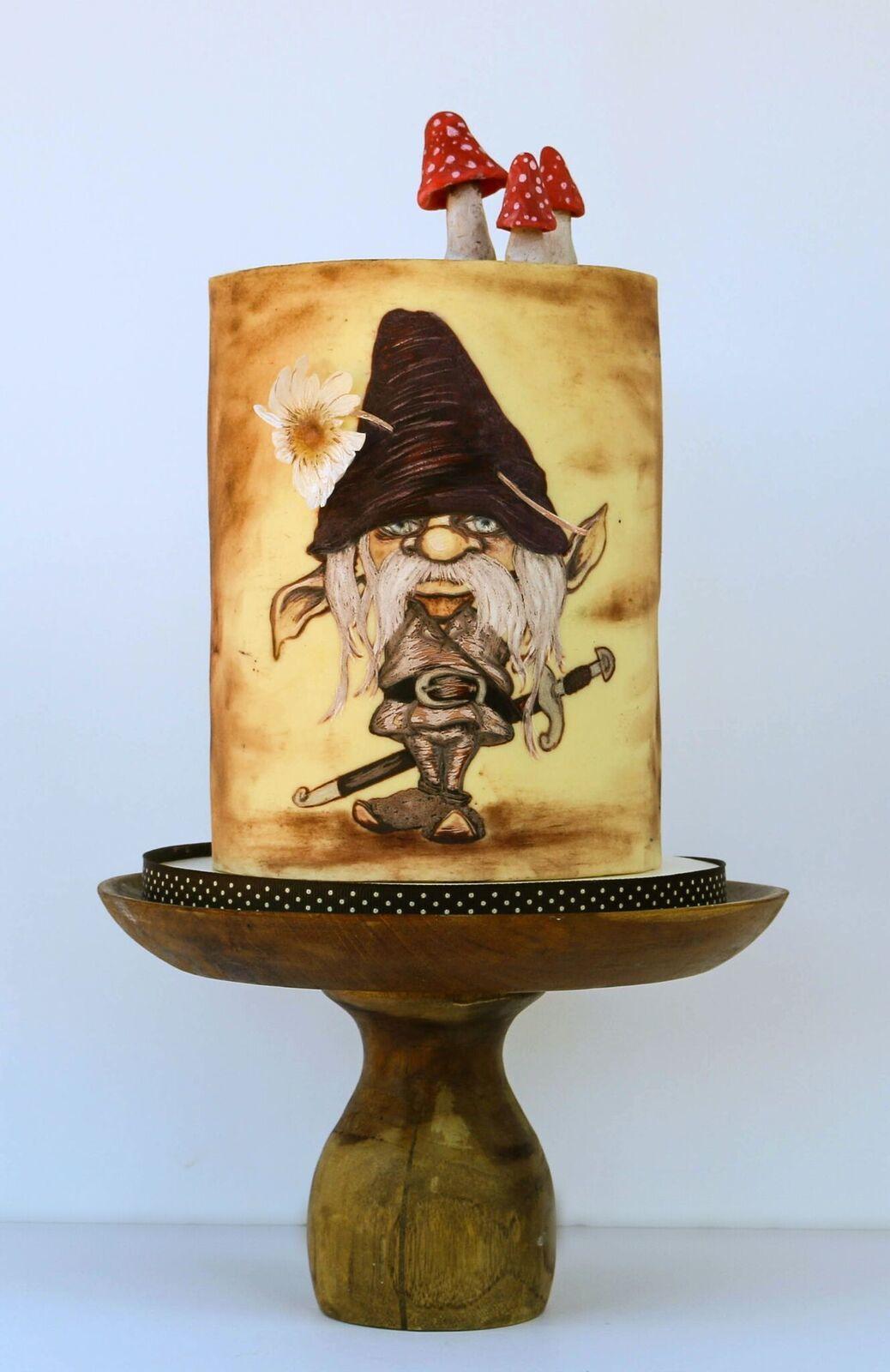 Handpainted woodland gnome cake with mushrooms