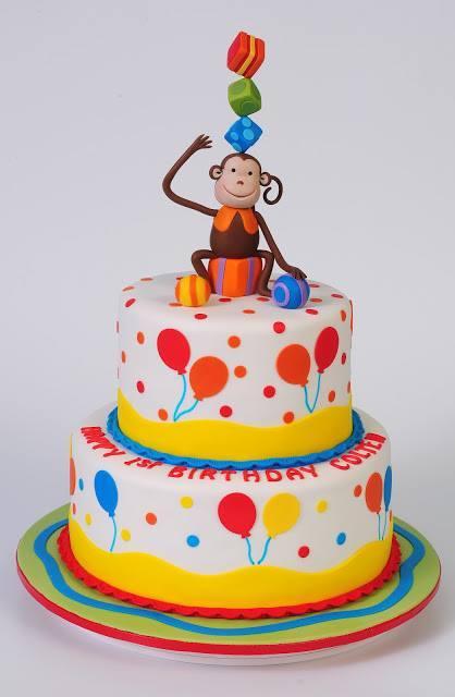 Monkey themed birthday cake