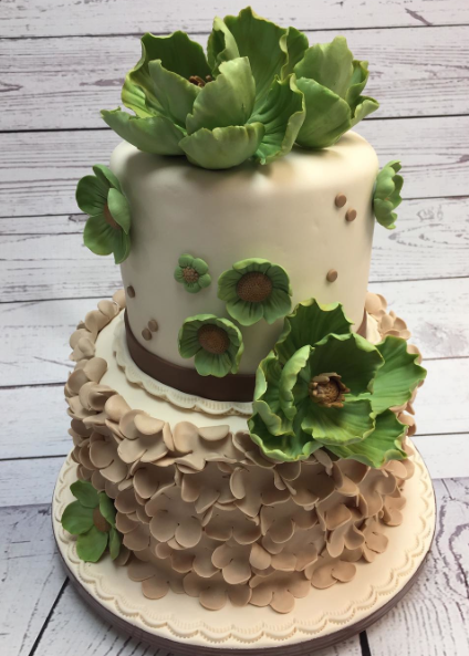 Tan and green sugar flower wedding cake