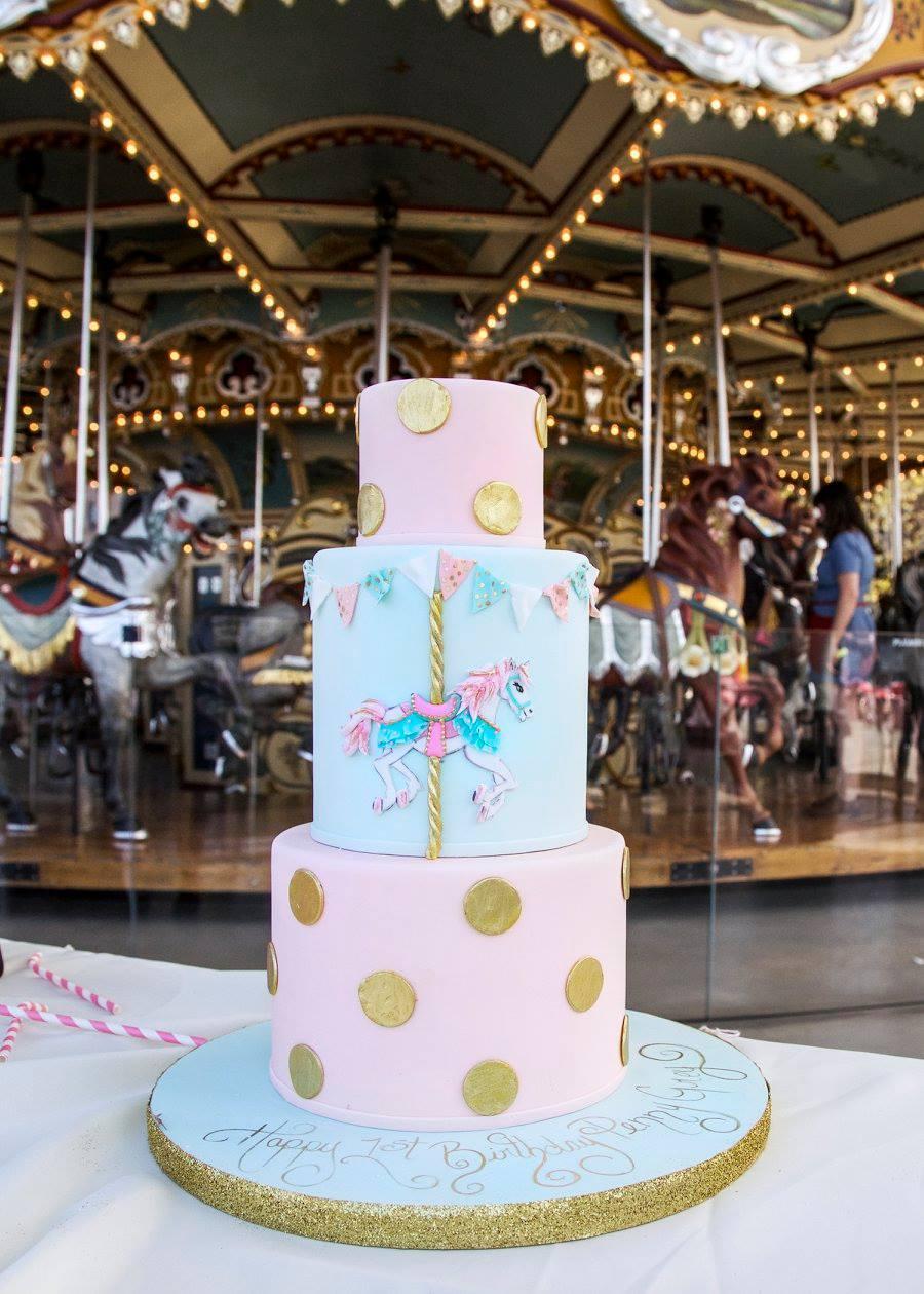 Polka Dot Carousel Birthday Cake m